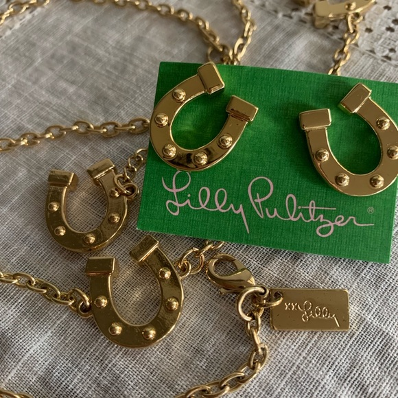 Lilly Pulitzer Jewelry - Lilly Pulitzer Horseshoe Necklace and Earrings Set